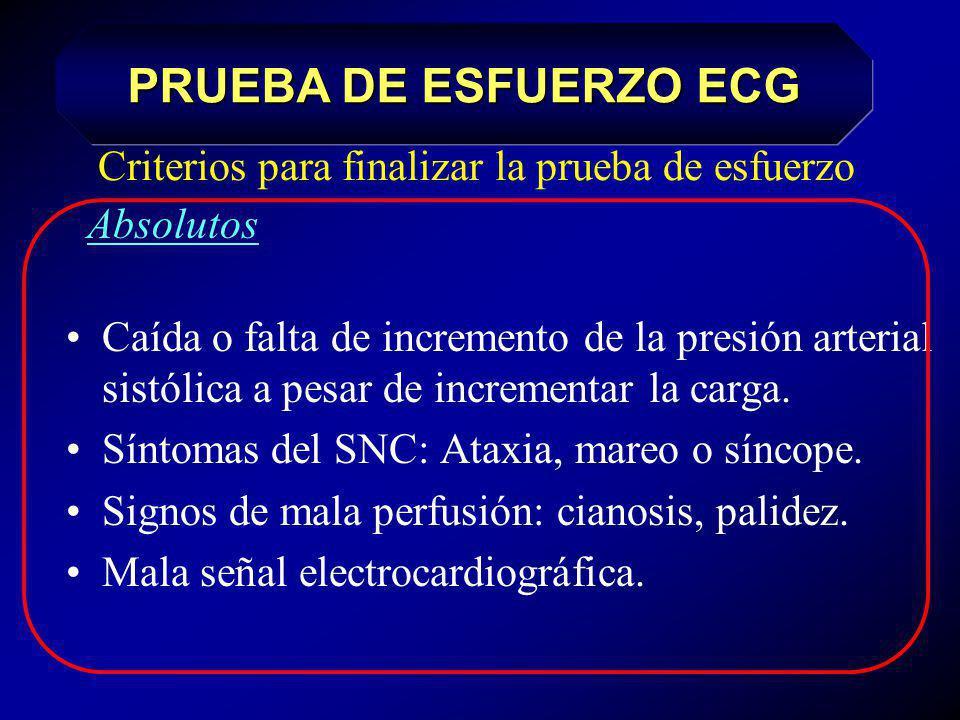 Criterios para finalizar la prueba de esfuerzo: Absolutos Petición del paciente Dolor torácico anginoso progresivo Arritmias severas / malignas: Fibri