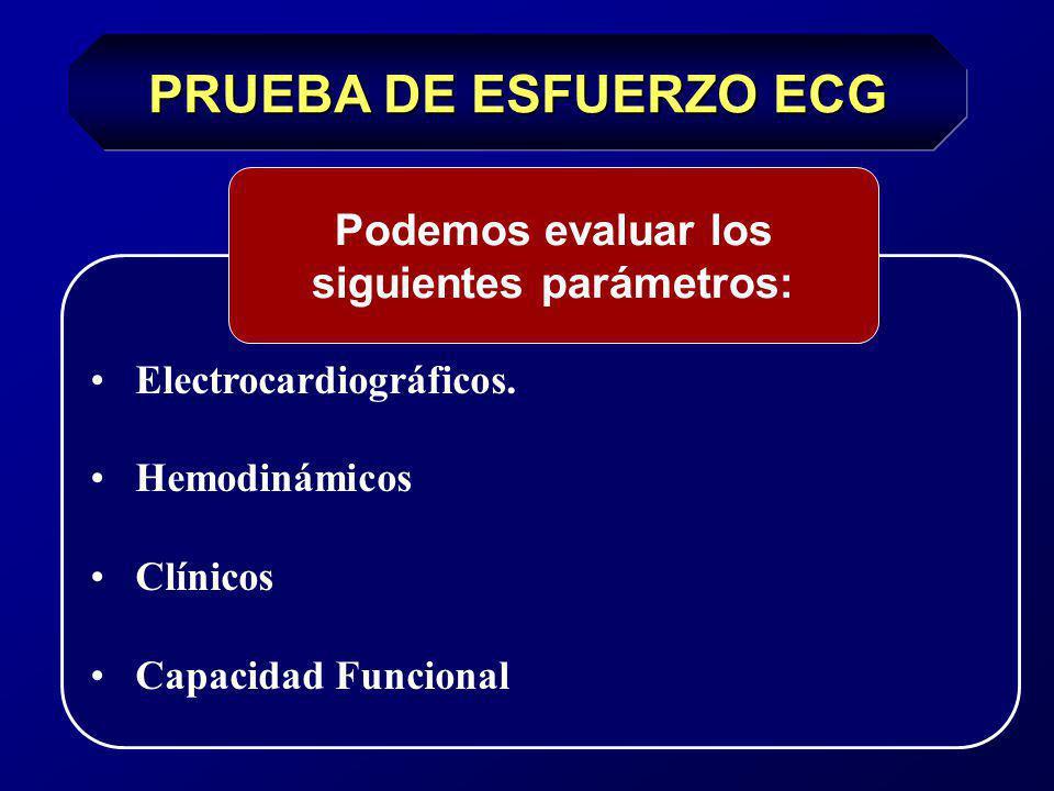 Criterios para finalizar la prueba de esfuerzo Relativos Cambios llamativos del segmento ST o del QRS (cambios del eje QRS) Fatiga, cansancio, disnea y claudicación.