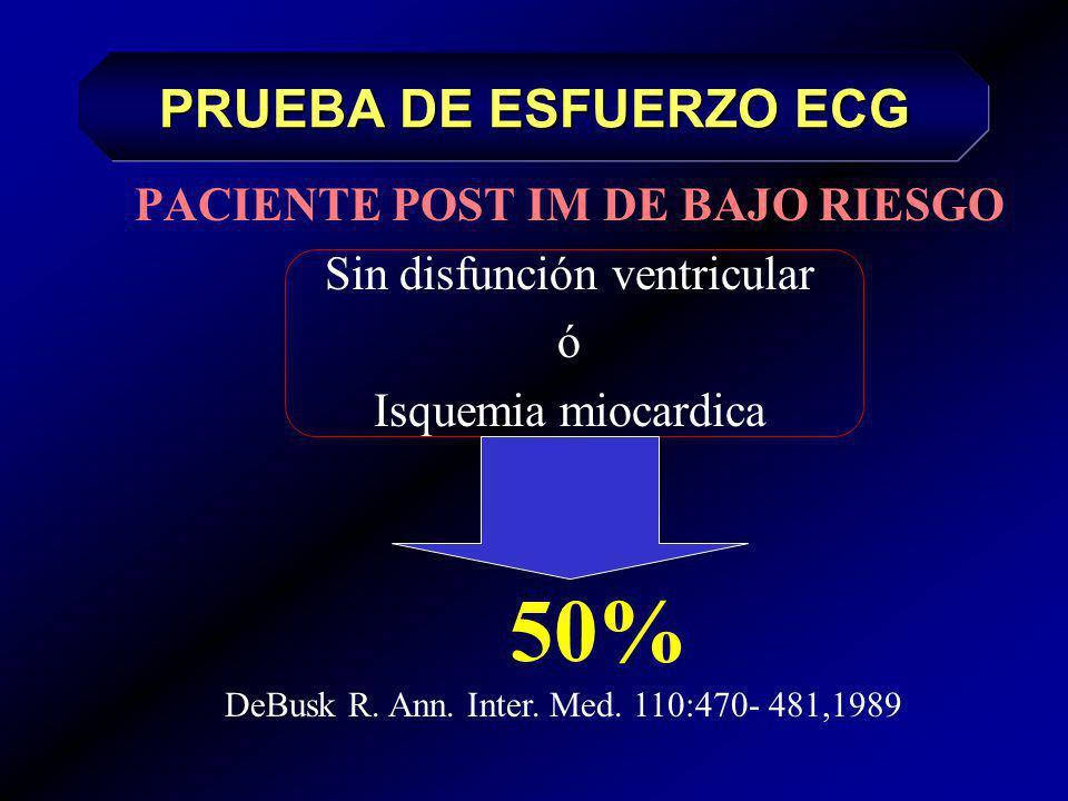 PACIENTE POST IM DE MODERADO RIESGO Debido a Isquemia Miocardica 30% DeBusk R. Ann. Inter. Med. 110:470- 481,1989 PRUEBA DE ESFUERZO ECG