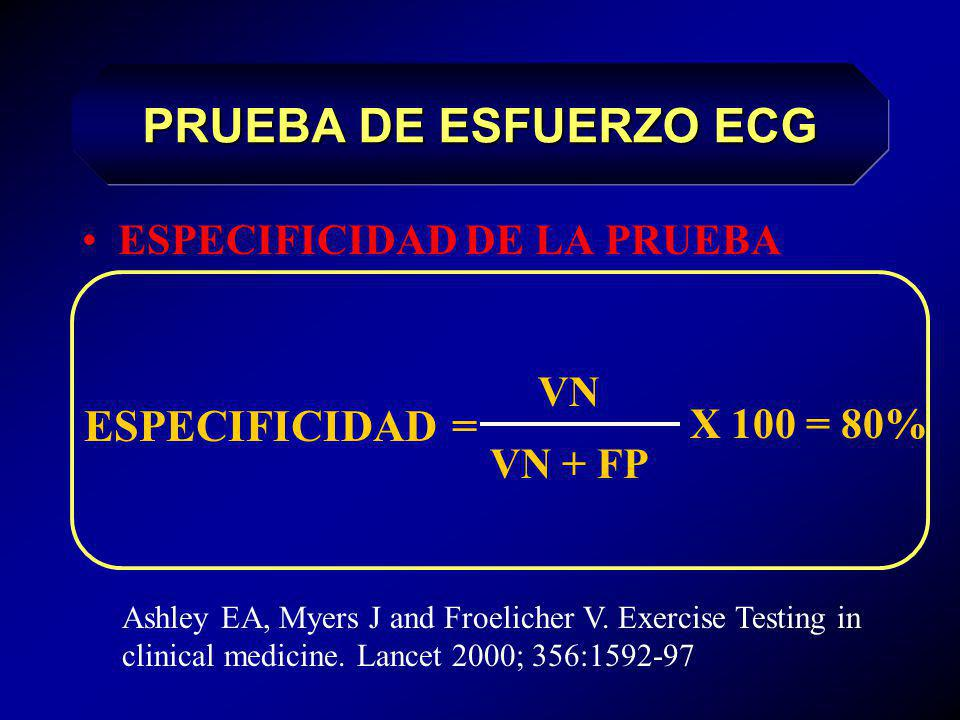 SENSIBILIDAD DE LA PRUEBA VP VP + FN X 100 = 70% SENSIBILIDAD= Ashley EA, Myers J and Froelicher V. Exercise Testing in clinical medicine. Lancet 2000