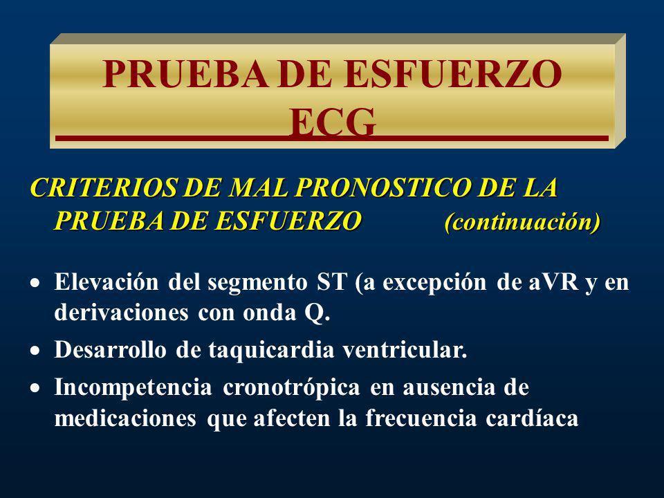 PRUEBA DE ESFUERZO ECG CRITERIOS DE MAL PRONOSTICO DE LA PRUEBA DE ESFUERZO (continuación) Depresión del segmento ST, con tendencia hacia abajo, espec