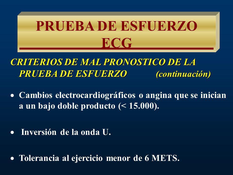 PRUEBA DE ESFUERZO ECG CRITERIOS DE MAL PRONOSTICO DE LA PRUEBA DE ESFUERZO (continuación) Elevación del segmento ST (a excepción de aVR y en derivaciones con onda Q.