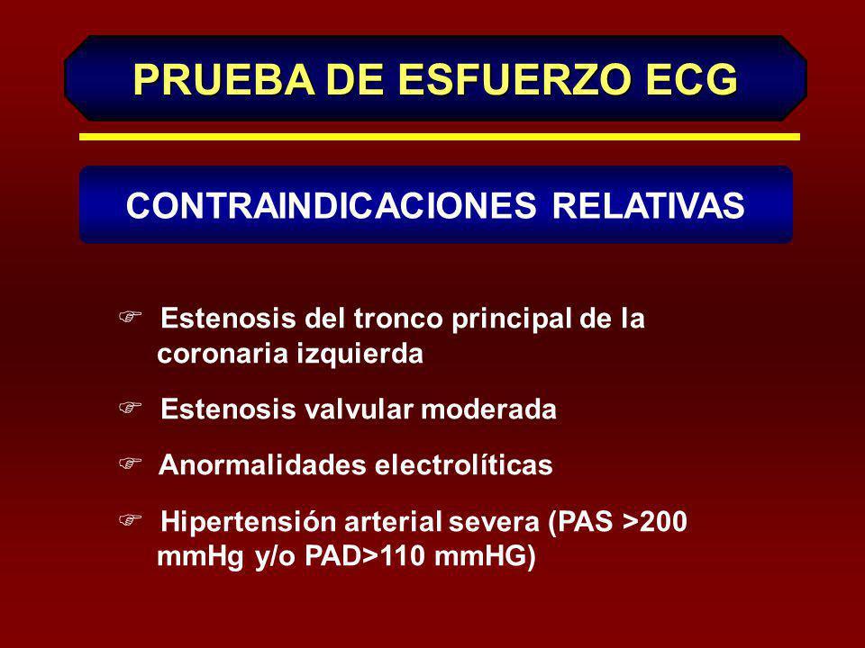 PRUEBA DE ESFUERZO ECG (Continuación) DICG F Embolia pulmonar aguda o infarto pulmonar F Miocarditis aguda o pericarditis F Disección aórtica aguda F Incapacidad física o psíquica para realizar la prueba CONTRAINDICACIONES ABSOLUTAS
