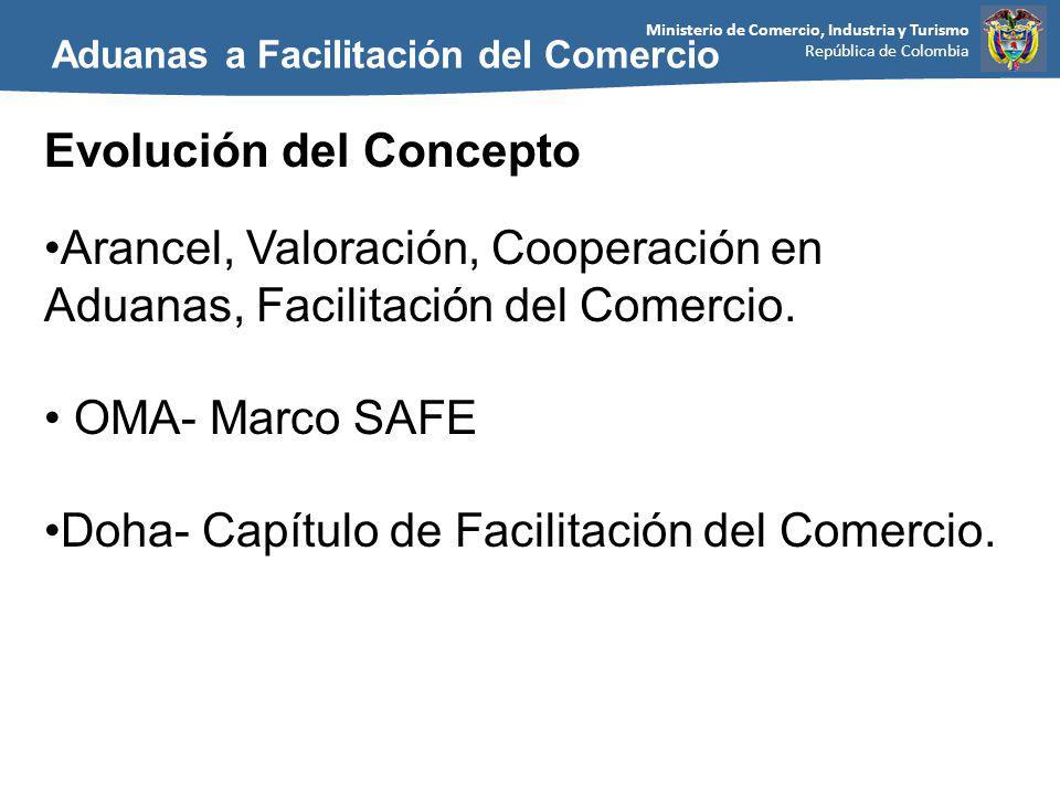 Ministerio de Comercio, Industria y Turismo República de Colombia Aduanas a Facilitación del Comercio Evolución del Concepto Arancel, Valoración, Cooperación en Aduanas, Facilitación del Comercio.