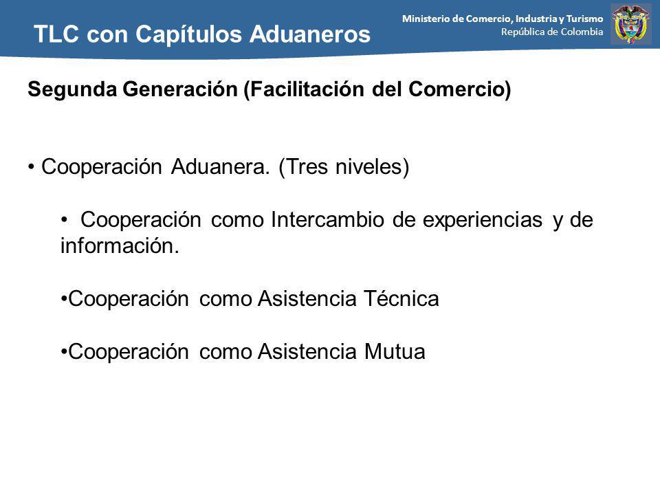 Ministerio de Comercio, Industria y Turismo República de Colombia TLC con Capítulos Aduaneros Segunda Generación (Facilitación del Comercio) Cooperación Aduanera.