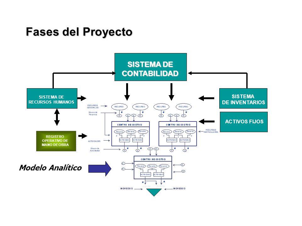 REGISTRO OPERATIVO DE MANO DE OBRA SISTEMA DE RECURSOS HUMANOS SISTEMA DE INVENTARIOS SISTEMA DE CONTABILIDAD Modelo Analítico ACTIVOS FIJOS Fases del