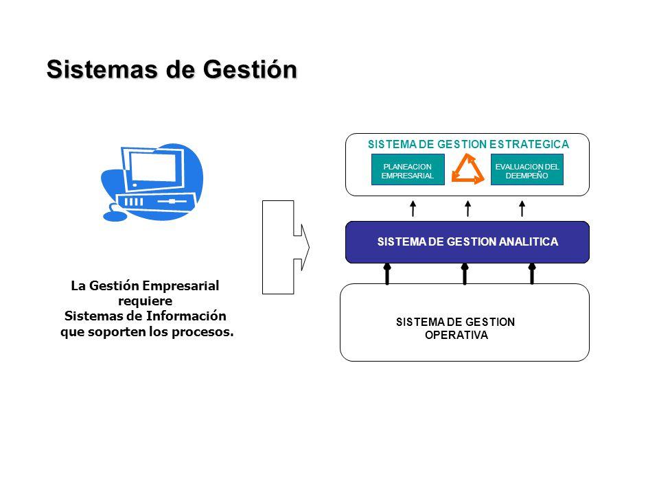 Sistemas de Gestión SISTEMA DE GESTION ANALITICA PLANEACION EMPRESARIAL EVALUACION DEL DEEMPEÑO SISTEMA DE GESTION ESTRATEGICA SISTEMA DE GESTION OPER