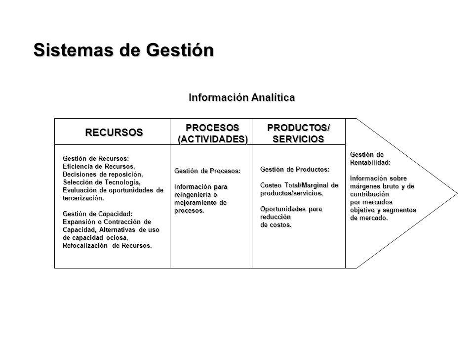 Información Analítica RECURSOS PROCESOS(ACTIVIDADES)PRODUCTOS/SERVICIOS Gestión de Recursos: Eficiencia de Recursos, Decisiones de reposición, Selecci