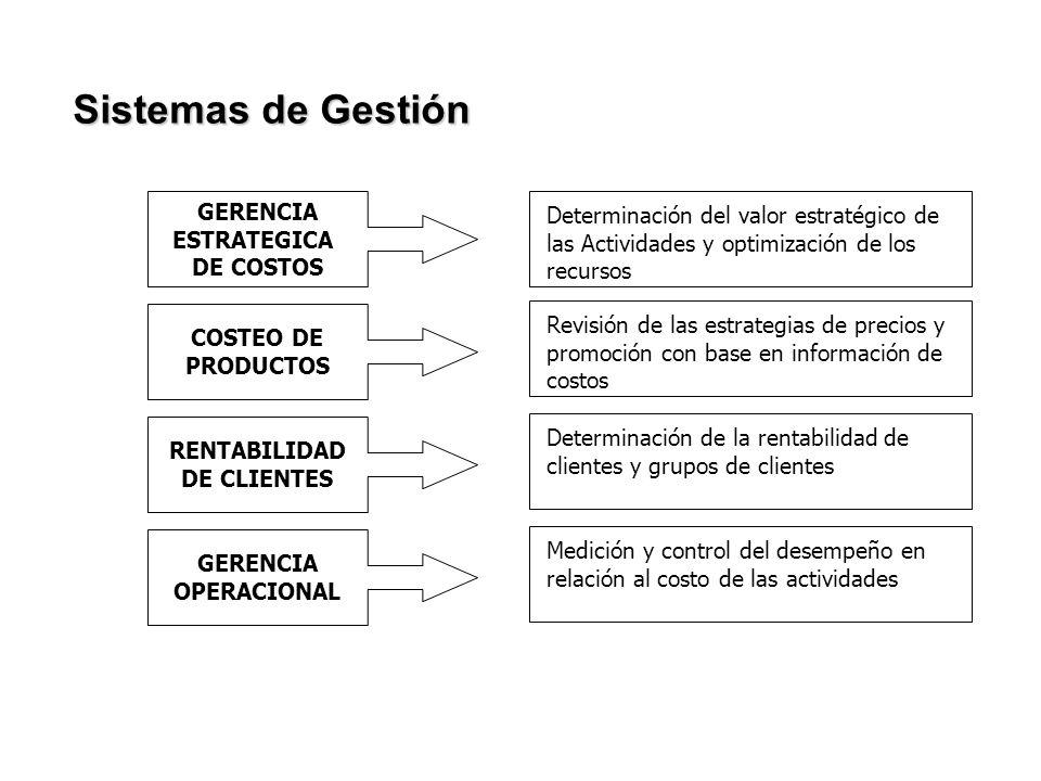 GERENCIA ESTRATEGICA DE COSTOS COSTEO DE PRODUCTOS RENTABILIDAD DE CLIENTES GERENCIA OPERACIONAL Determinación del valor estratégico de las Actividade