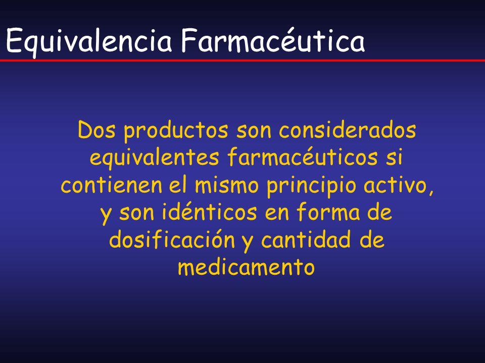 Equivalencia Farmacéutica Dos productos son considerados equivalentes farmacéuticos si contienen el mismo principio activo, y son idénticos en forma d