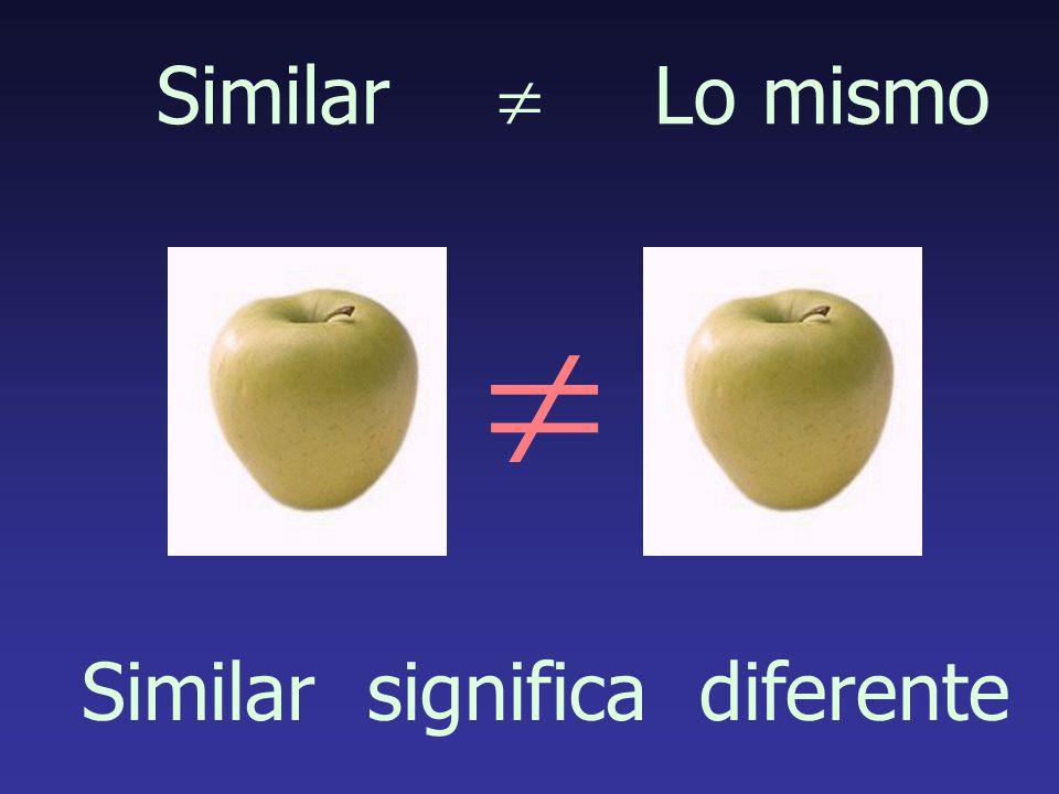 Similar Lo mismo Similar significa diferente