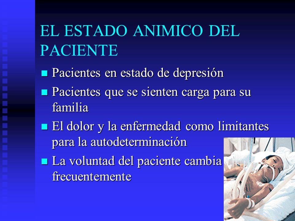 EL ESTADO ANIMICO DEL PACIENTE Pacientes en estado de depresión Pacientes en estado de depresión Pacientes que se sienten carga para su familia Pacien