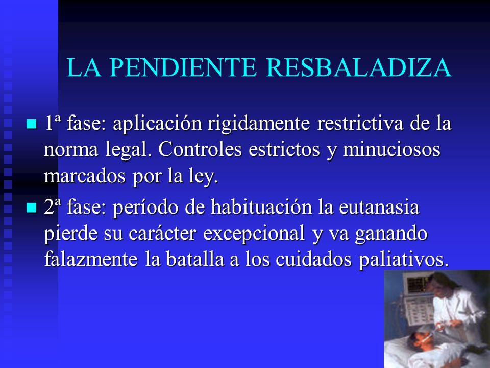 LA PENDIENTE RESBALADIZA 1ª fase: aplicación rigidamente restrictiva de la norma legal. Controles estrictos y minuciosos marcados por la ley. 1ª fase:
