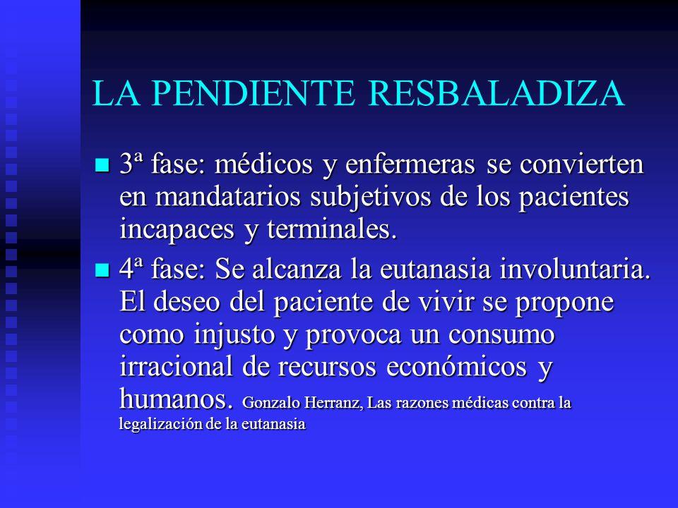 LA PENDIENTE RESBALADIZA 3ª fase: médicos y enfermeras se convierten en mandatarios subjetivos de los pacientes incapaces y terminales. 3ª fase: médic