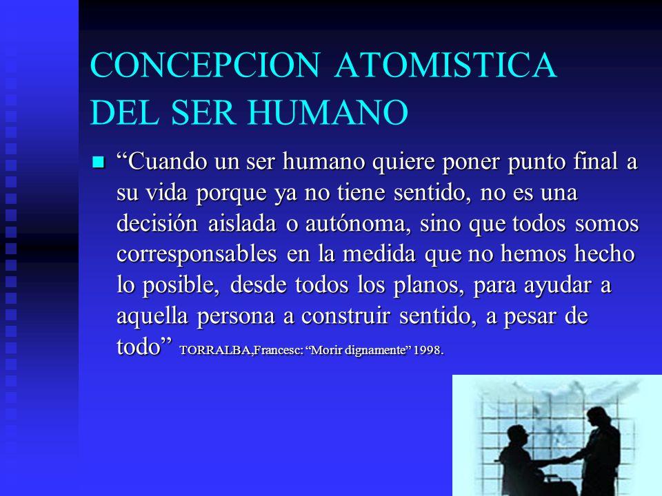 CONCEPCION ATOMISTICA DEL SER HUMANO Cuando un ser humano quiere poner punto final a su vida porque ya no tiene sentido, no es una decisión aislada o