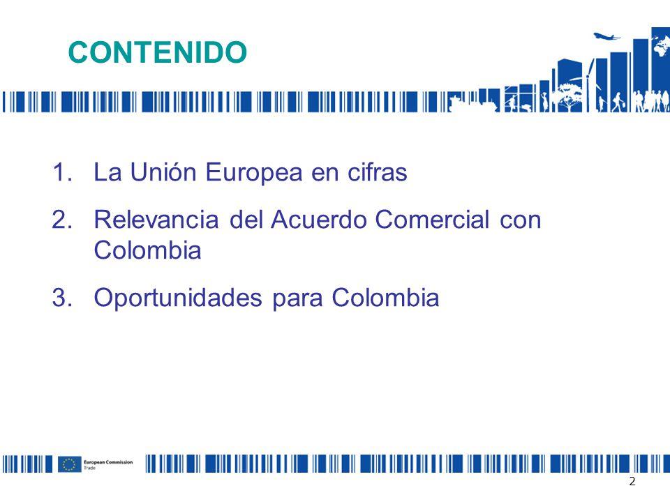 CONTENIDO 1.La Unión Europea en cifras 2.Relevancia del Acuerdo Comercial con Colombia 3.Oportunidades para Colombia 2