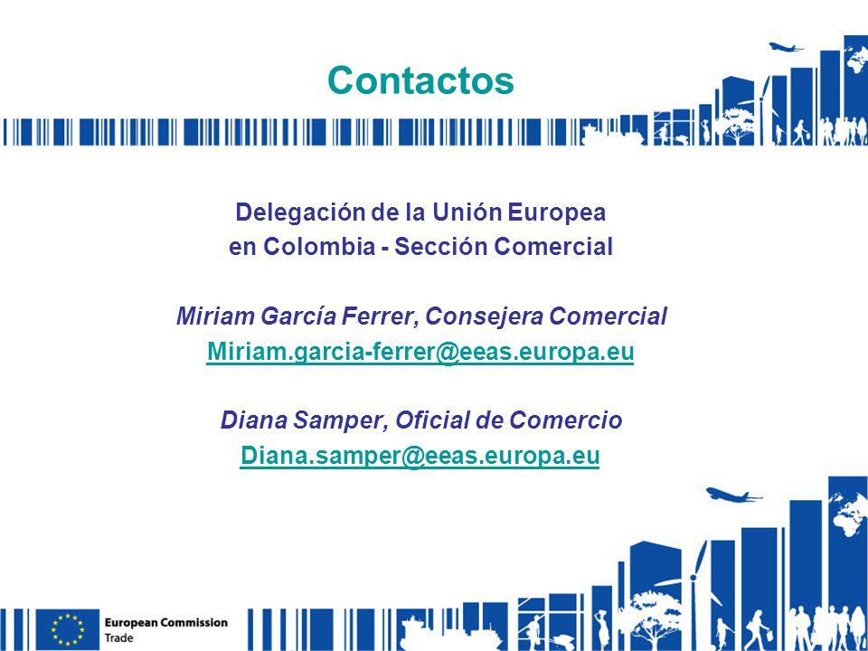 Delegación de la Unión Europea en Colombia - Sección Comercial Miriam García Ferrer, Consejera Comercial Miriam.garcia-ferrer@eeas.europa.eu Diana Samper, Oficial de Comercio Diana.samper@eeas.europa.eu Contactos