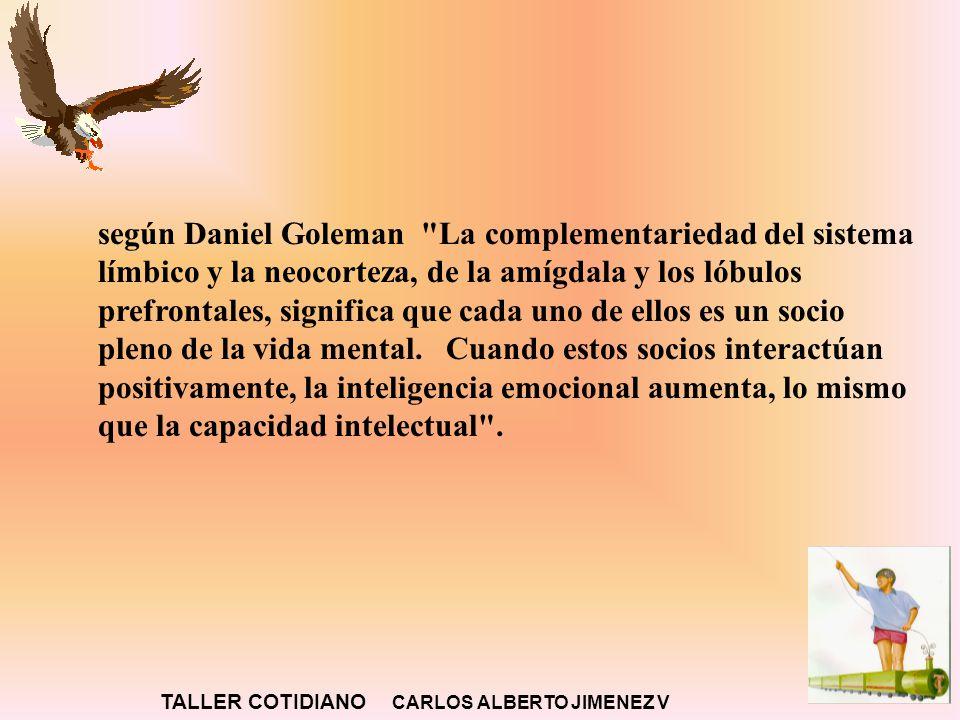 según Daniel Goleman La complementariedad del sistema límbico y la neocorteza, de la amígdala y los lóbulos prefrontales, significa que cada uno de ellos es un socio pleno de la vida mental.