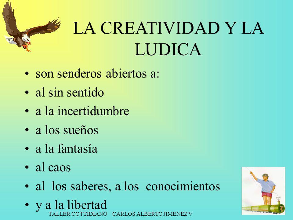 TALLER COTTIDIANO CARLOS ALBERTO JIMENEZ V LA CREATIVIDAD Y LA LUDICA son senderos abiertos a: al sin sentido a la incertidumbre a los sueños a la fan