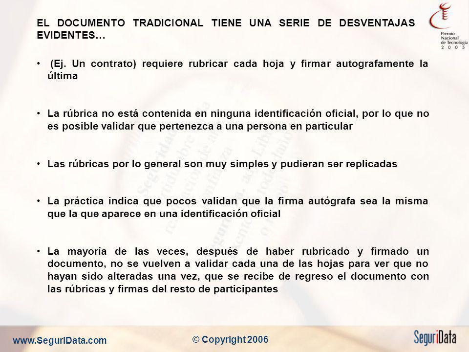 www.SeguriData.com © Copyright 2006 EL DOCUMENTO TRADICIONAL TIENE UNA SERIE DE DESVENTAJAS EVIDENTES… (Ej. Un contrato) requiere rubricar cada hoja y