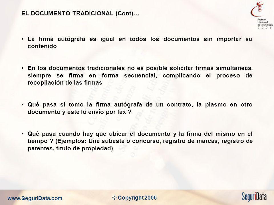 www.SeguriData.com © Copyright 2006 EL DOCUMENTO TRADICIONAL (Cont)… La firma autógrafa es igual en todos los documentos sin importar su contenido En