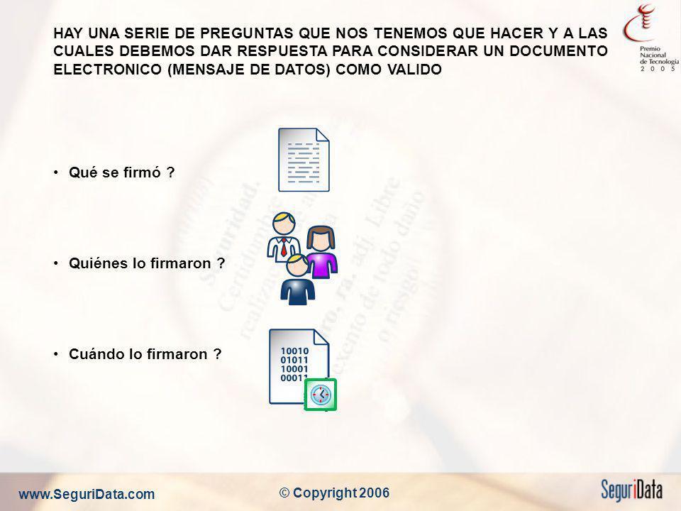 www.SeguriData.com © Copyright 2006 HAY UNA SERIE DE PREGUNTAS QUE NOS TENEMOS QUE HACER Y A LAS CUALES DEBEMOS DAR RESPUESTA PARA CONSIDERAR UN DOCUM