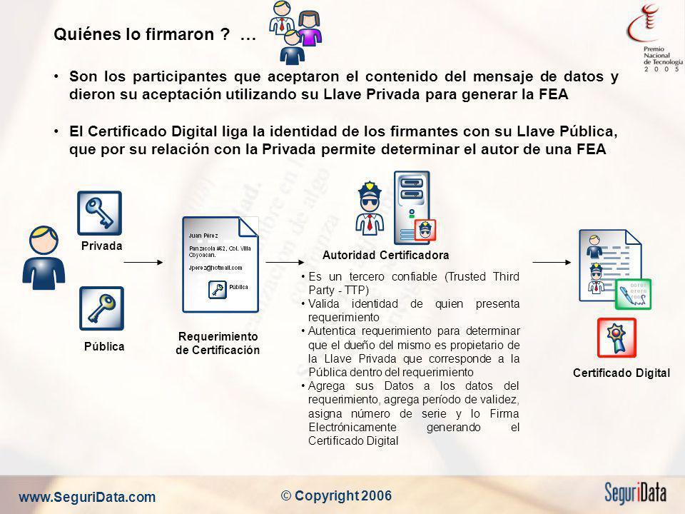 www.SeguriData.com © Copyright 2006 Quiénes lo firmaron ? … Son los participantes que aceptaron el contenido del mensaje de datos y dieron su aceptaci