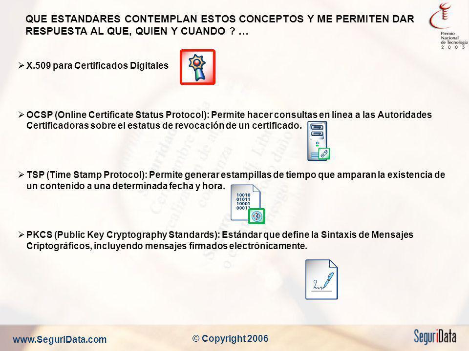 www.SeguriData.com © Copyright 2006 QUE ESTANDARES CONTEMPLAN ESTOS CONCEPTOS Y ME PERMITEN DAR RESPUESTA AL QUE, QUIEN Y CUANDO ? … X.509 para Certif