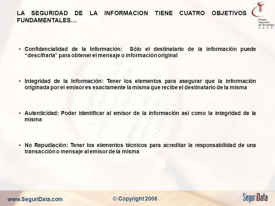 www.SeguriData.com © Copyright 2006 LA SEGURIDAD DE LA INFORMACION TIENE CUATRO OBJETIVOS FUNDAMENTALES… Confidencialidad de la Información: Sólo el d