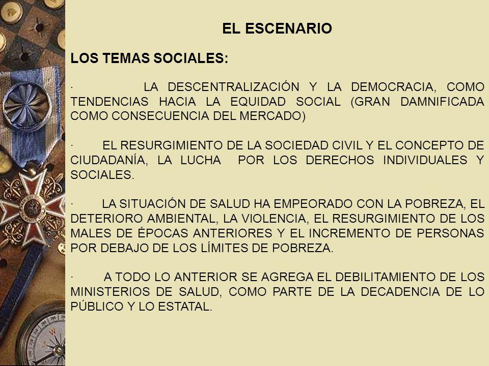 EL ESCENARIO LOS TEMAS SOCIALES: · LA DESCENTRALIZACIÓN Y LA DEMOCRACIA, COMO TENDENCIAS HACIA LA EQUIDAD SOCIAL (GRAN DAMNIFICADA COMO CONSECUENCIA DEL MERCADO) · EL RESURGIMIENTO DE LA SOCIEDAD CIVIL Y EL CONCEPTO DE CIUDADANÍA, LA LUCHA POR LOS DERECHOS INDIVIDUALES Y SOCIALES.