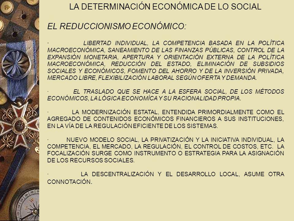 LA DETERMINACIÓN ECONÓMICA DE LO SOCIAL EL REDUCCIONISMO ECONÓMICO: · LIBERTAD INDIVIDUAL, LA COMPETENCIA BASADA EN LA POLÍTICA MACROECONÓMICA, SANEAMIENTO DE LAS FINANZAS PÚBLICAS, CONTROL DE LA EXPANSIÓN MONETARIA, APERTURA Y ORIENTACIÓN EXTERNA DE LA POLÍTICA MACROECONÓMICA, REDUCCIÓN DEL ESTADO, ELIMINACIÓN DE SUBSIDIOS SOCIALES Y ECONÓMICOS, FOMENTO DEL AHORRO Y DE LA INVERSIÓN PRIVADA, MERCADO LIBRE, FLEXIBILIZACIÓN LABORAL SEGÚN OFERTA Y DEMANDA.