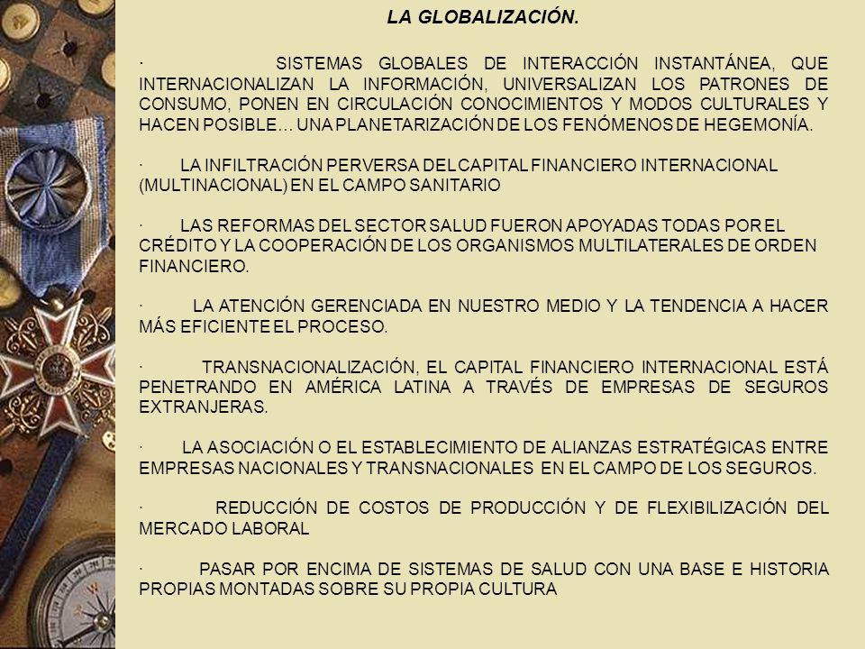 GLOBALIZACIÒN Y SALUD PROBLEMAS TRANSNACIONALES : · EL RECRUDECIMIENTO DE LAS ENFERMEDADES INFECCIOSAS, AÚN EN LOS PAÍSES DESARROLLADOS · LA DEGRADACIÓN AMBIENTAL A PESAR DE LA CONCIENCIA COLECTIVA · LA MUNDIALIZACIÓN DE LAS DROGAS, SOBRE TODO EL TABACO Y EL ALCOHOL, CON FUERTE INCREMENTO EN LOS PAÍSES POBRES · LA VIOLENCIA, PROBLEMA MUNDIAL, CON EXPRESIONES MÁS ACENTUADAS EN LOS FOCOS DE CONFLICTO ORIGINADOS EN TENSAS RELACIONES MULTIFACTORIALES.