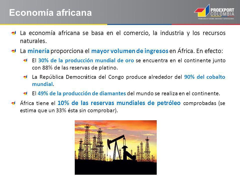 La economía africana se basa en el comercio, la industria y los recursos naturales.
