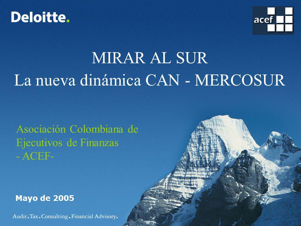 MIRAR AL SUR La nueva dinámica CAN - MERCOSUR Mayo de 2005 Asociación Colombiana de Ejecutivos de Finanzas - ACEF-