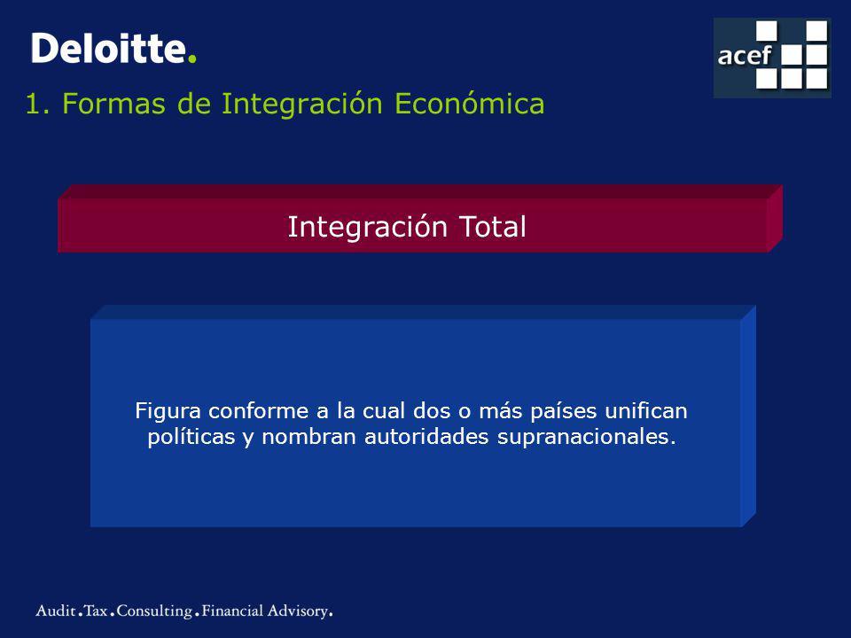 1. Formas de Integración Económica Integración Total Figura conforme a la cual dos o más países unifican políticas y nombran autoridades supranacional