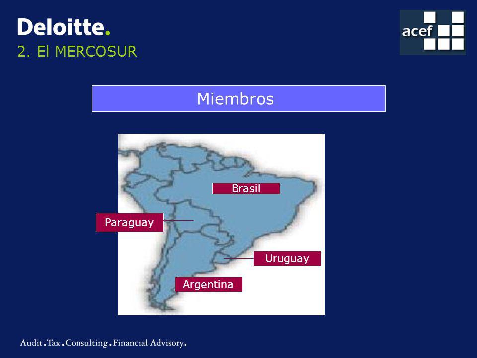 2. El MERCOSUR Miembros Brasil Paraguay Uruguay Argentina
