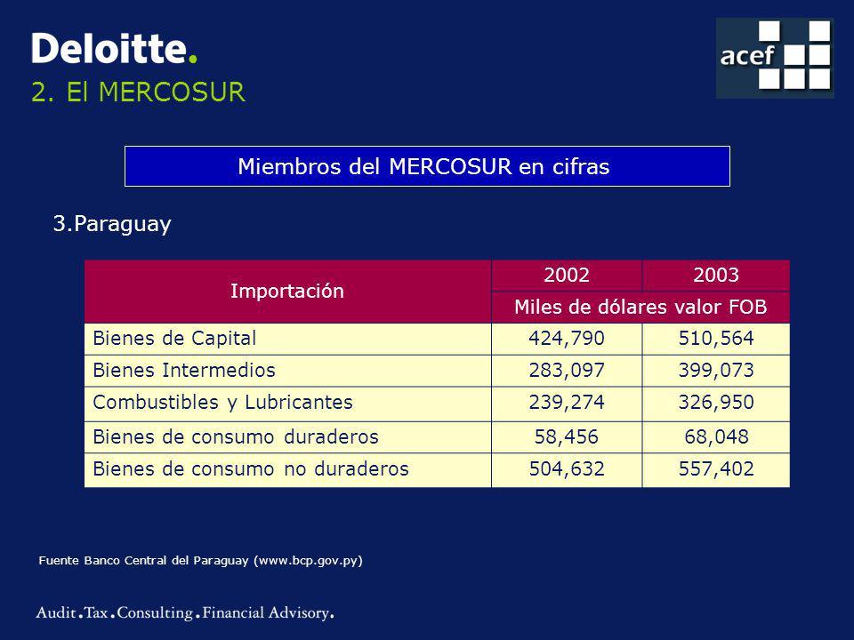 2. El MERCOSUR Miembros del MERCOSUR en cifras 3.Paraguay Importación 20022003 Miles de dólares valor FOB Bienes de Capital424,790510,564 Bienes Inter