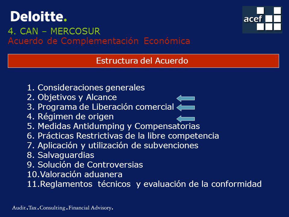 4. CAN – MERCOSUR Acuerdo de Complementación Económica Estructura del Acuerdo 1.Consideraciones generales 2.Objetivos y Alcance 3.Programa de Liberaci