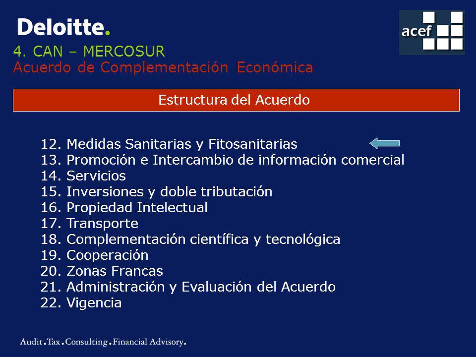 4.CAN – MERCOSUR Acuerdo de Complementación Económica Estructura del Acuerdo 12.