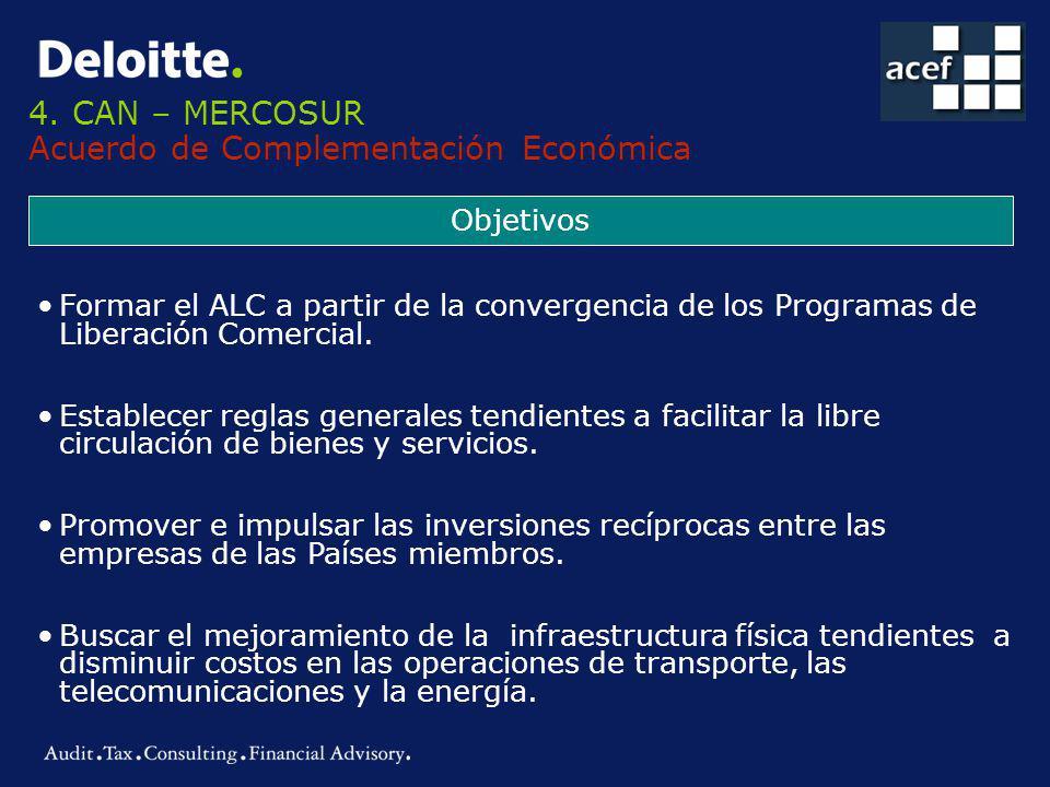 4. CAN – MERCOSUR Acuerdo de Complementación Económica Objetivos Formar el ALC a partir de la convergencia de los Programas de Liberación Comercial. E