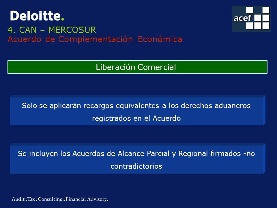 4. CAN – MERCOSUR Acuerdo de Complementación Económica Liberación Comercial Solo se aplicarán recargos equivalentes a los derechos aduaneros registrad