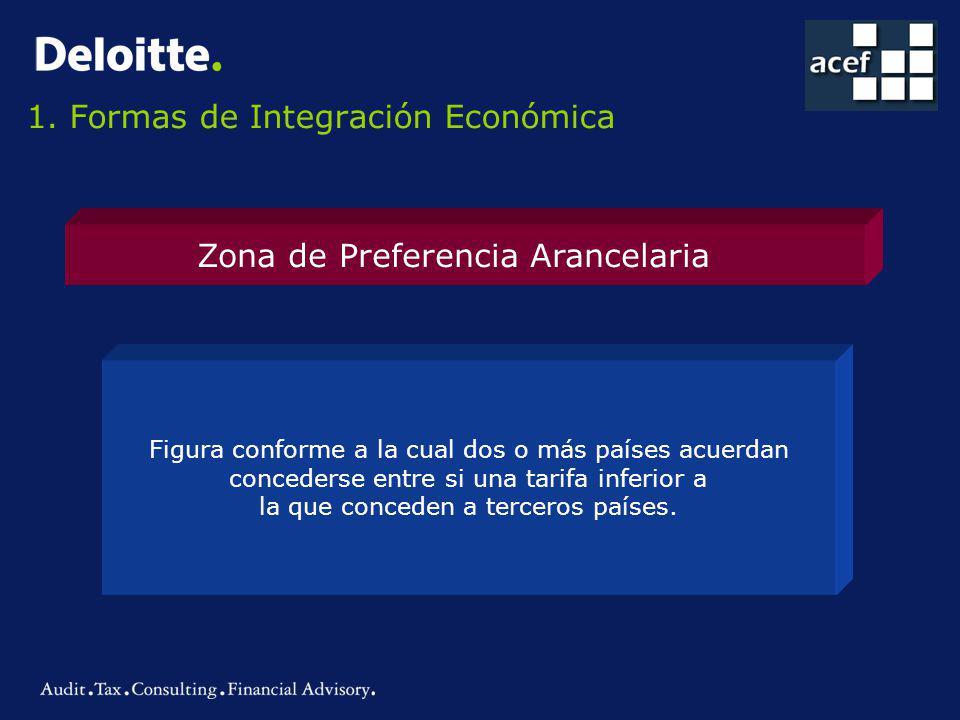 Zona de Preferencia Arancelaria Figura conforme a la cual dos o más países acuerdan concederse entre si una tarifa inferior a la que conceden a terceros países.
