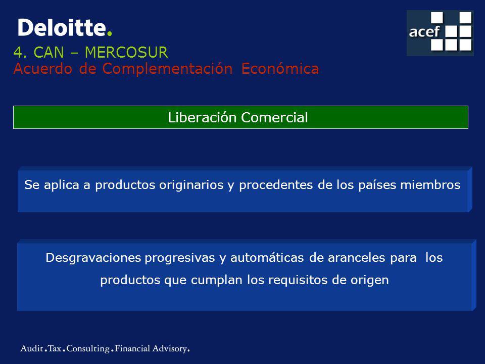 4. CAN – MERCOSUR Acuerdo de Complementación Económica Liberación Comercial Se aplica a productos originarios y procedentes de los países miembros Des