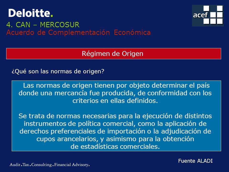 4. CAN – MERCOSUR Acuerdo de Complementación Económica Régimen de Origen ¿Qué son las normas de origen? Las normas de origen tienen por objeto determi