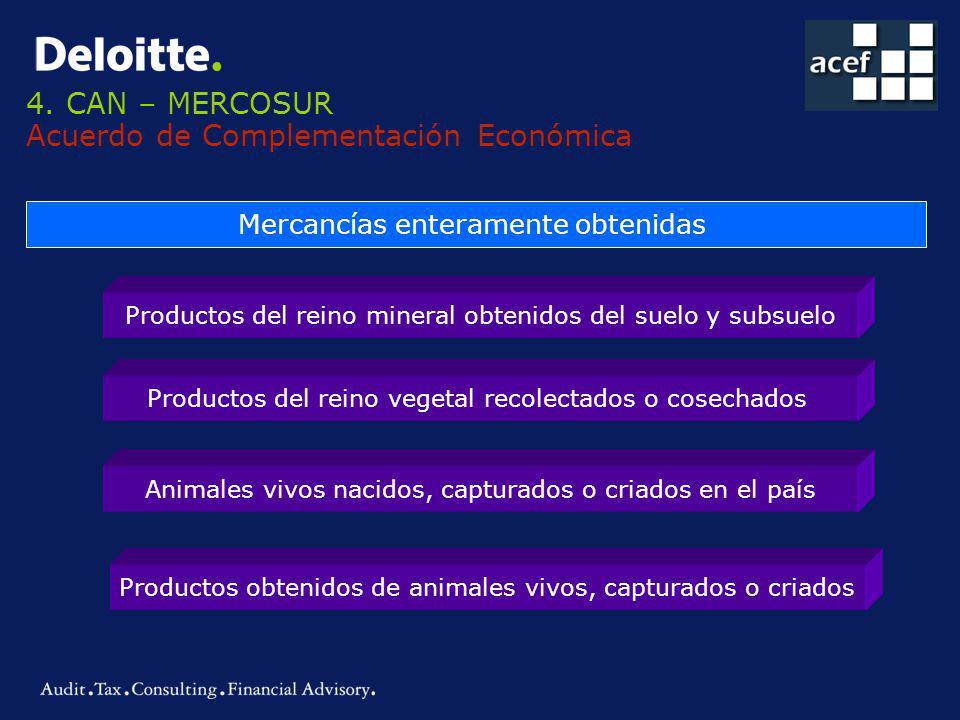 4. CAN – MERCOSUR Acuerdo de Complementación Económica Mercancías enteramente obtenidas Productos del reino mineral obtenidos del suelo y subsuelo Pro
