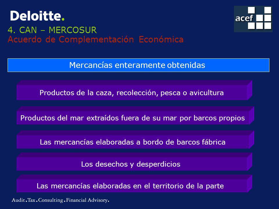 4. CAN – MERCOSUR Acuerdo de Complementación Económica Mercancías enteramente obtenidas Productos de la caza, recolección, pesca o avicultura Producto