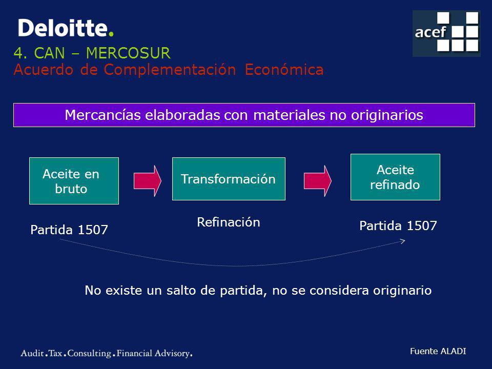 4. CAN – MERCOSUR Acuerdo de Complementación Económica Mercancías elaboradas con materiales no originarios Aceite en bruto Partida 1507 Transformación