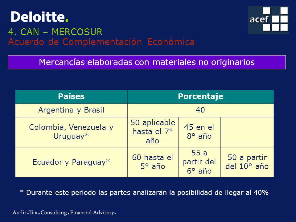 4. CAN – MERCOSUR Acuerdo de Complementación Económica Mercancías elaboradas con materiales no originarios PaísesPorcentaje Argentina y Brasil40 Colom