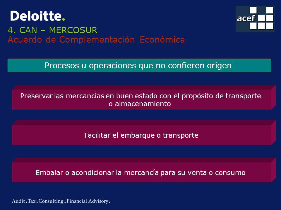 4. CAN – MERCOSUR Acuerdo de Complementación Económica Procesos u operaciones que no confieren origen Preservar las mercancías en buen estado con el p