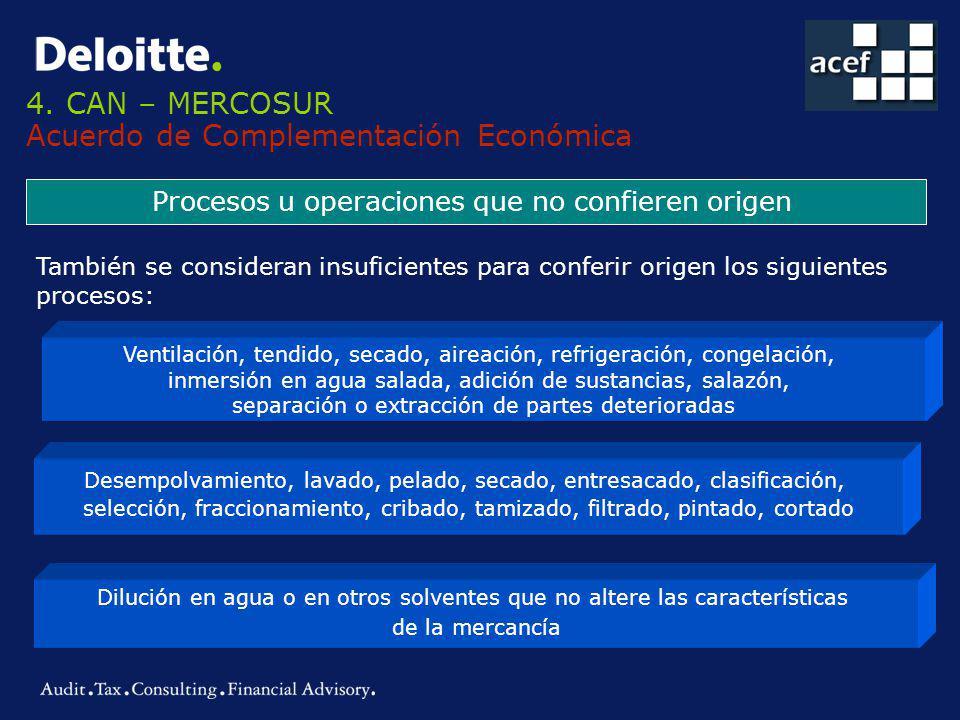 4. CAN – MERCOSUR Acuerdo de Complementación Económica Procesos u operaciones que no confieren origen Ventilación, tendido, secado, aireación, refrige